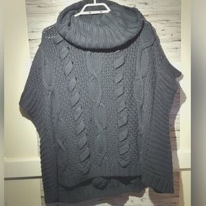 L/G Cleo Navy Blue Cable Knit Turtle Neck Sweater